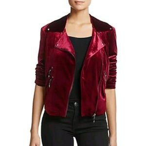 Bagatelle Oxblood Red Velvet Moto Jacket Womens M